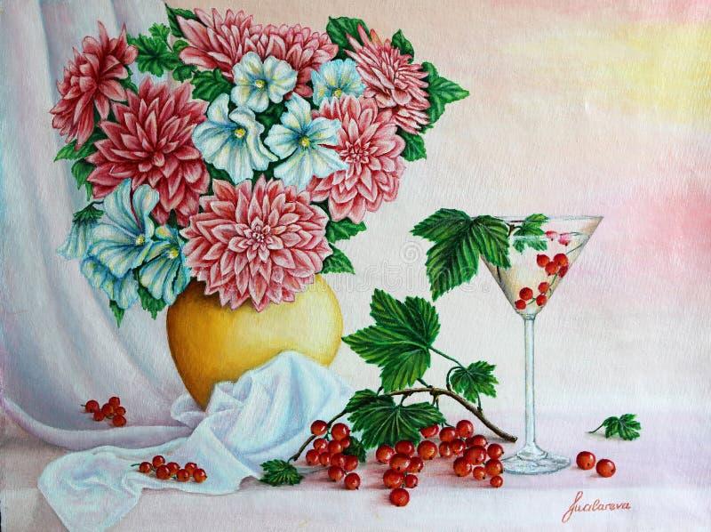 Flores en un jarro con la copa de vino y las bayas Pintura Colores de acrílico en el papel ilustración del vector