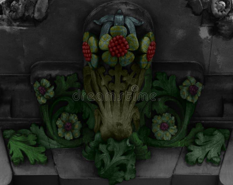 Flores en verde con el corazón rojo fotos de archivo