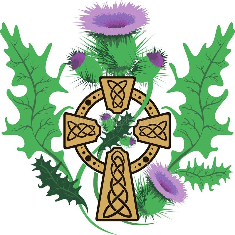 Flores enmarcadas estilizadas del cardo de la cruz céltica libre illustration