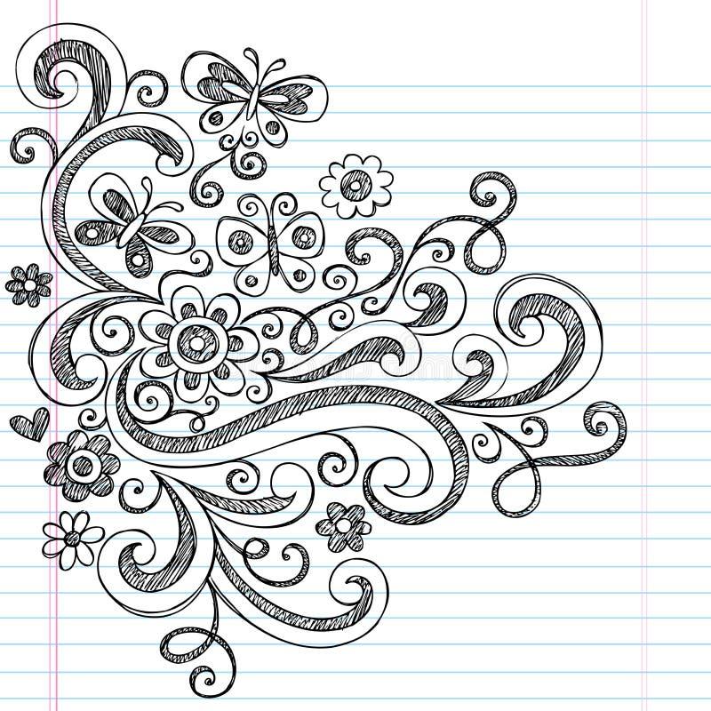 Flores esboçado de volta aos Doodles da escola ilustração do vetor