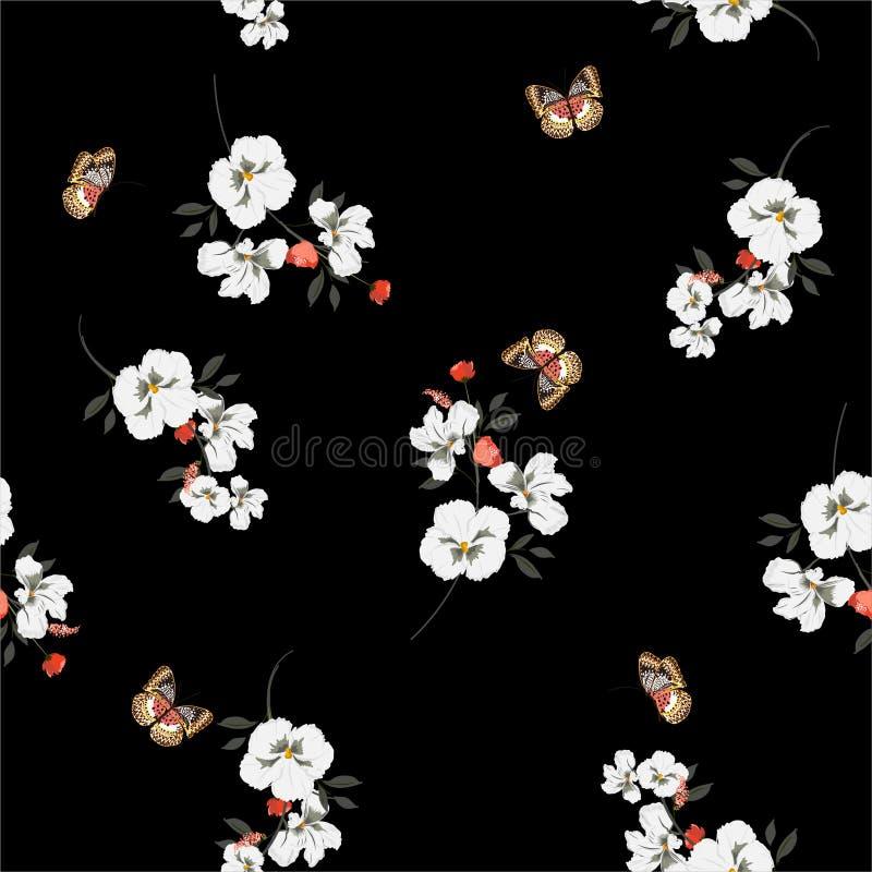 Flores escuras bonitas do amor perfeito do branco de jardim com as borboletas macias e teste padrão sem emenda delicado no projet ilustração royalty free
