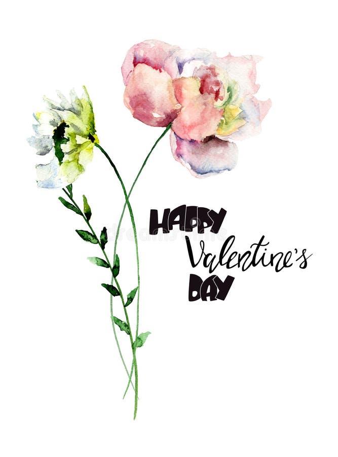 Flores estilizadas de Gerber y de la peonía con el título Valentine's feliz ilustración del vector