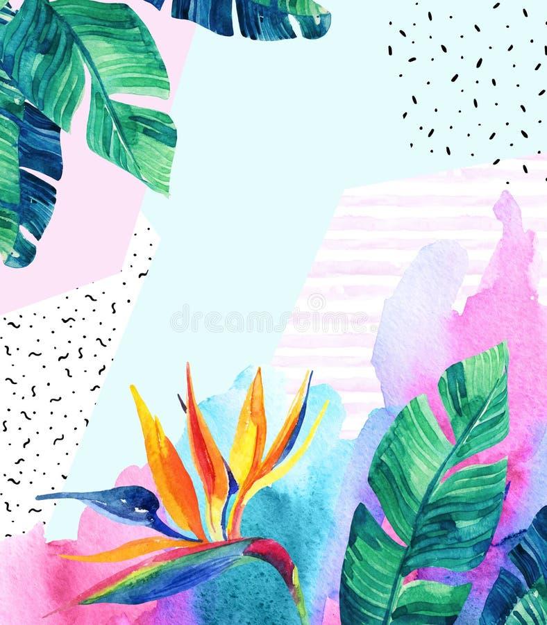 Flores exóticas da aquarela, folhas, texturas do grunge, garatujas ilustração royalty free