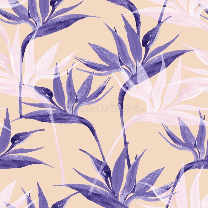 Flores exóticas en los colores monocromáticos, transparentes en fondo en colores pastel libre illustration