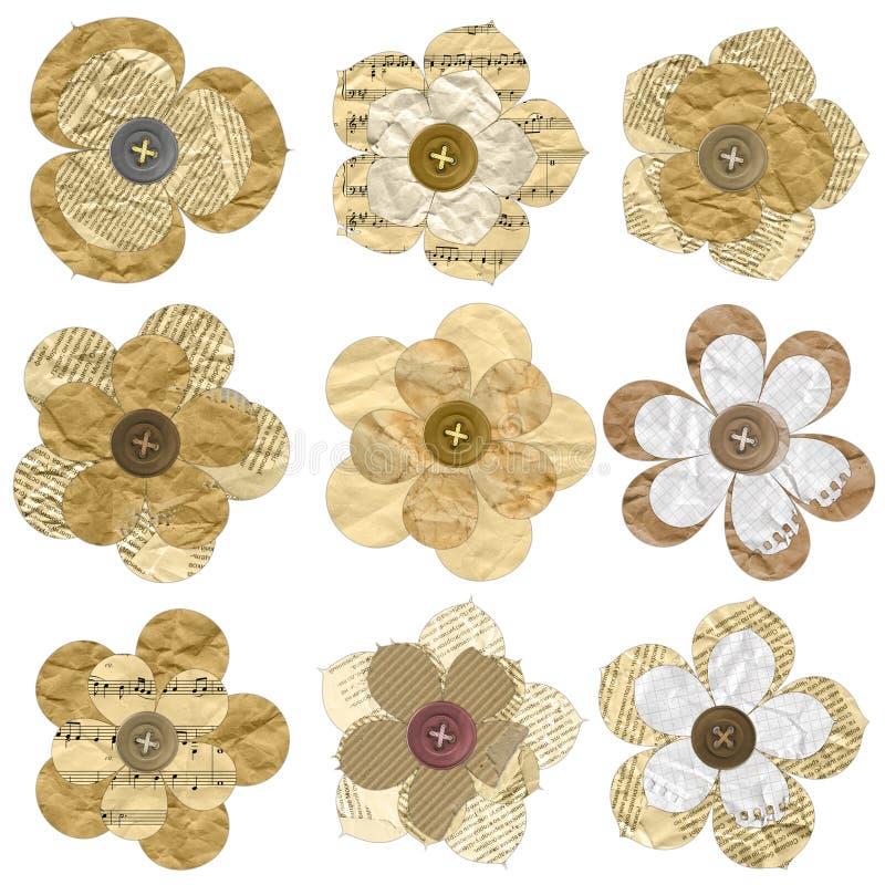 Flores feitas do papel velho isolado no branco. ilustração stock