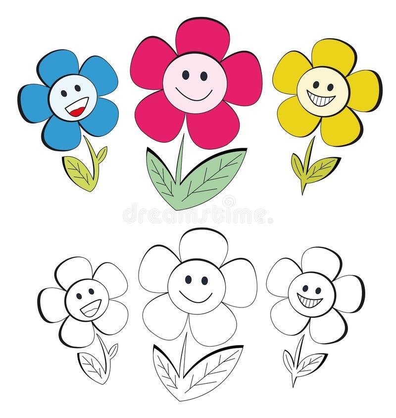Flores felices ilustración del vector