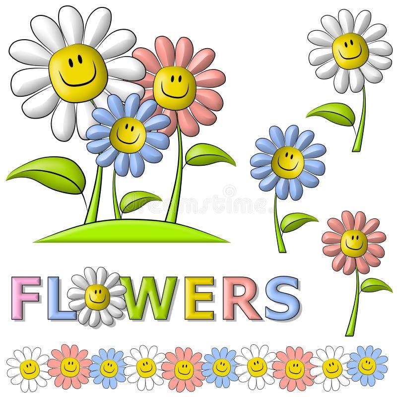 Flores felizes da face do smiley da mola ilustração royalty free