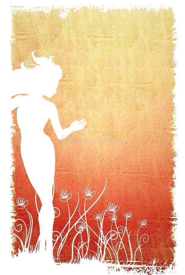 Flores femeninas 2 de la silueta ilustración del vector