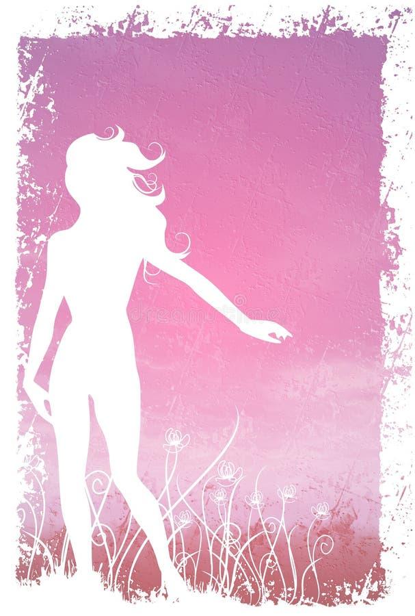 Flores femeninas de la silueta stock de ilustración