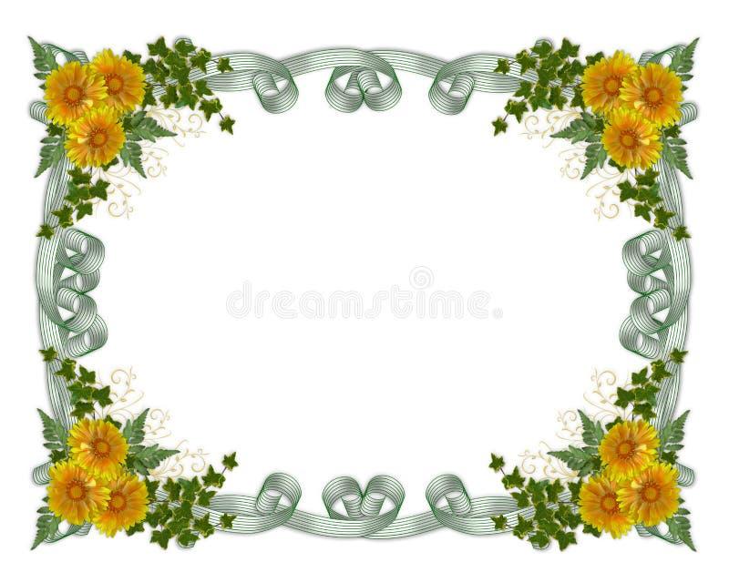 Flores florais do amarelo da beira ilustração stock