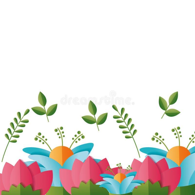 Flores florales de la frontera stock de ilustración