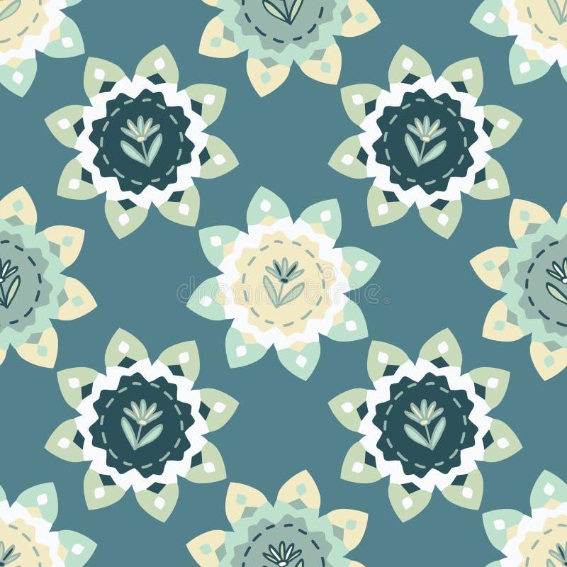 Flores florecientes Daisy Style Seamless Vector Pattern Floral dibujada mano intr?pida de la primavera stock de ilustración