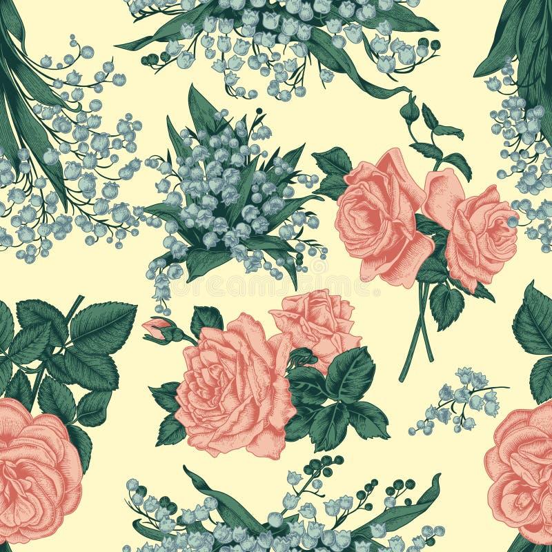 Flores Fondo inconsútil del vector Ilustración de la vendimia ilustración del vector