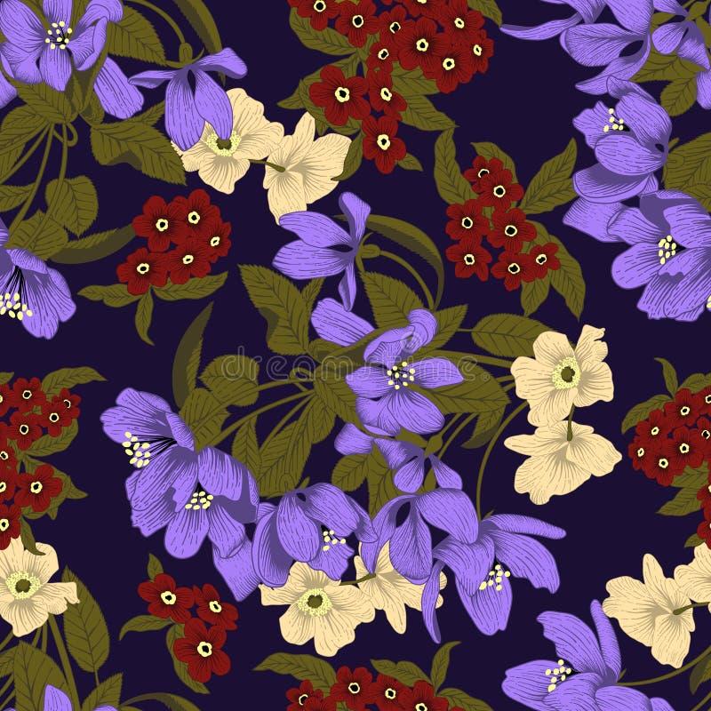 Flores Fondo inconsútil del vector Textura de la flor Modelo floral vendimia clásico botánica ilustración del vector