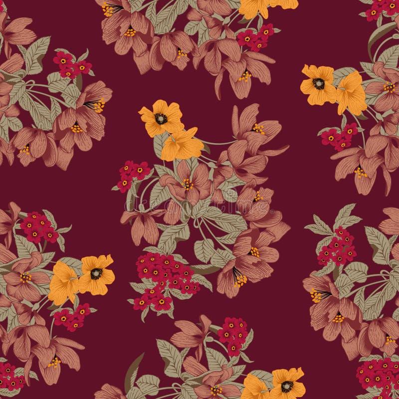 Flores Fondo inconsútil del vector Textura de la flor Modelo floral vendimia clásico botánica libre illustration