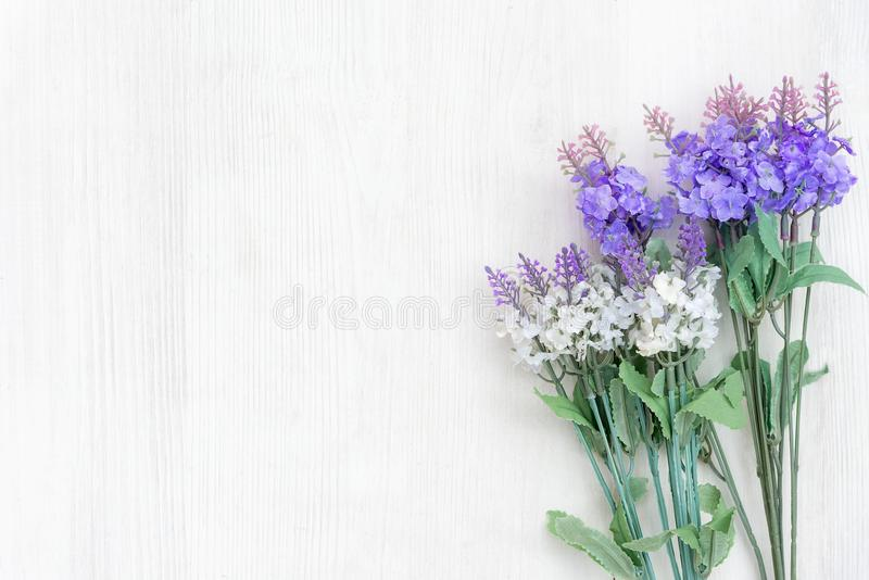 Flores frescas da alfazema do tempo de mola e do dia ensolarado no fundo de madeira branco da tabela imagem de stock royalty free