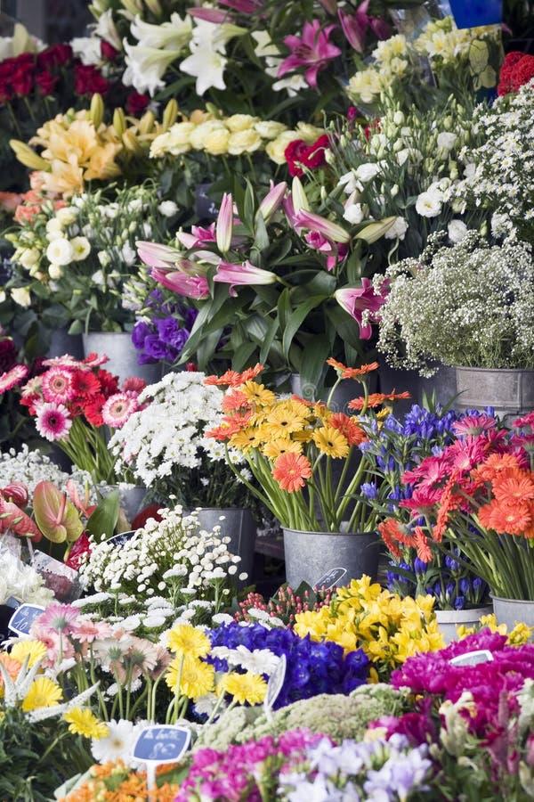 Flores frescas em um mercado ao ar livre dos fazendeiros foto de stock royalty free