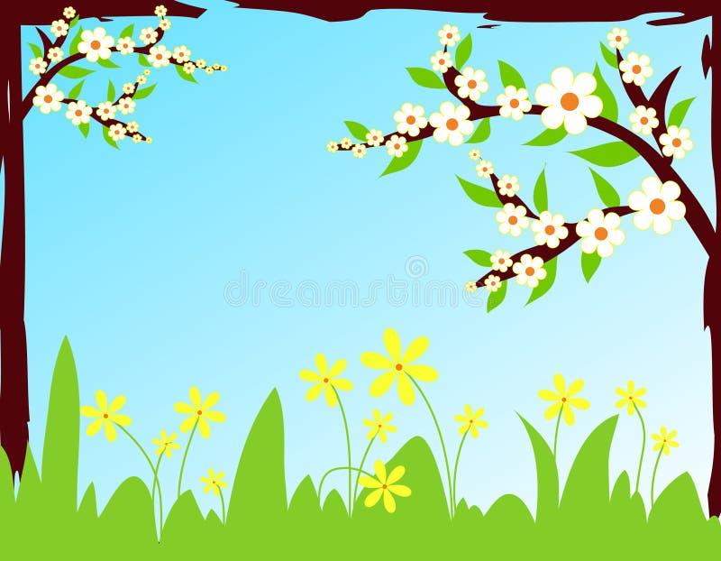 Flores frescas en resorte ilustración del vector