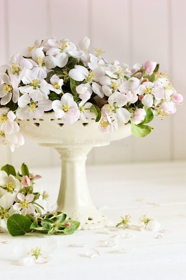 Flores frescos de la manzana en la tabla fotos de archivo