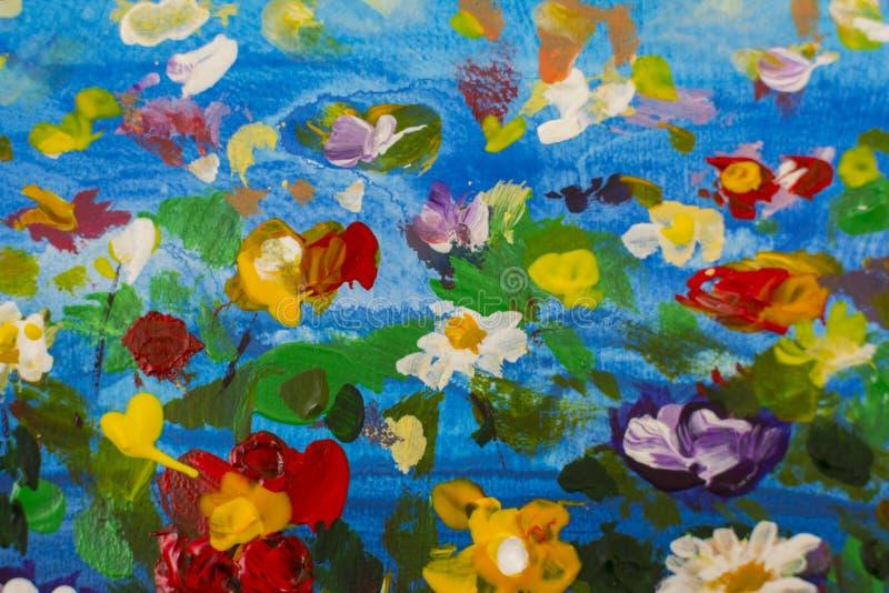 Flores grandes del extracto de la textura Ciérrese encima del fragmento de la imagen artística de las flores de la pintura al óle ilustración del vector