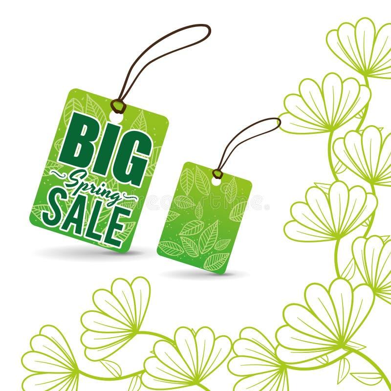 flores grandes del precio de la etiqueta de la venta de la primavera libre illustration