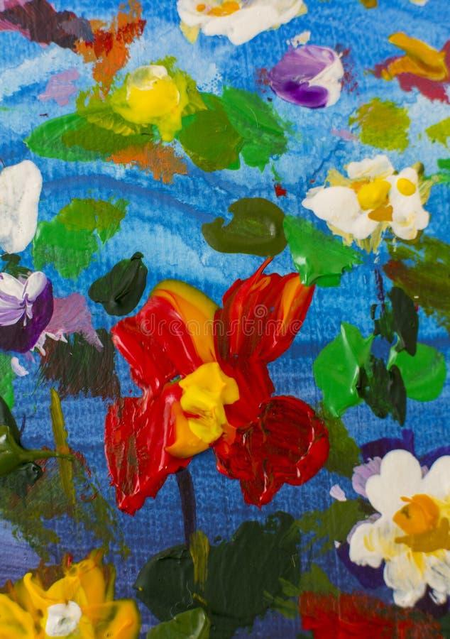 Flores grandes do sumário da textura Feche acima do fragmento da imagem artística das flores da pintura a óleo A faca de paleta f foto de stock