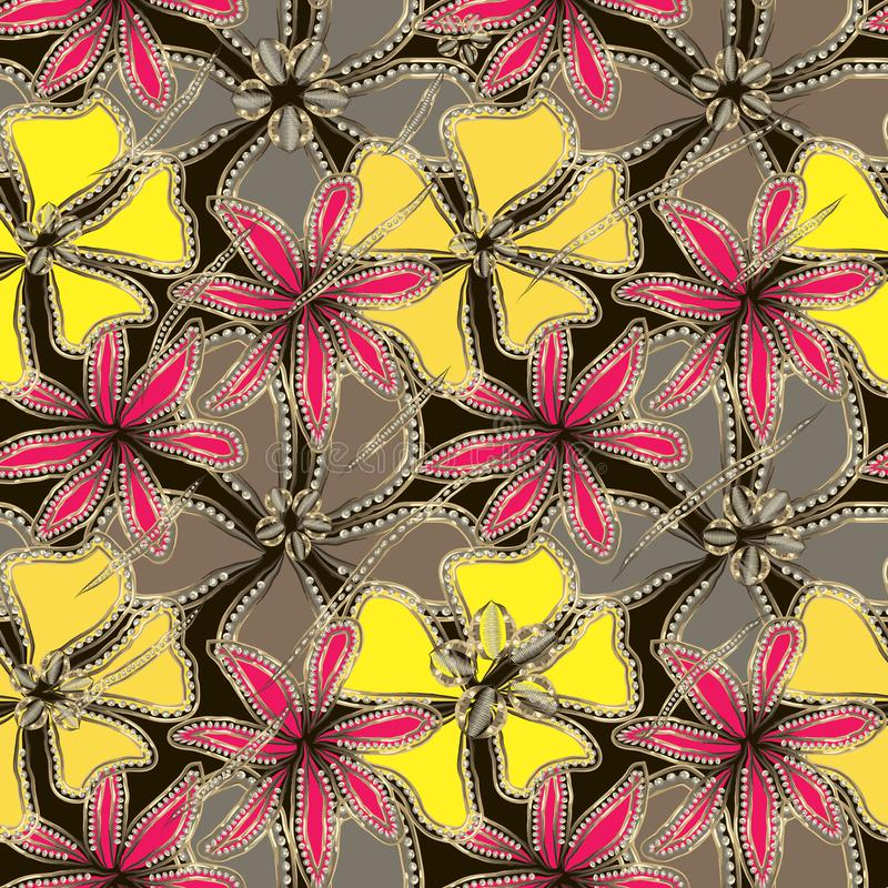 Flores grises, amarillas, carmesís abstractas en marco del oro con los diamantes ilustración del vector