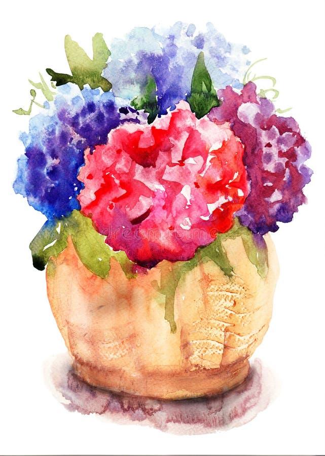 Flores hermosas del rojo del Hydrangea ilustración del vector