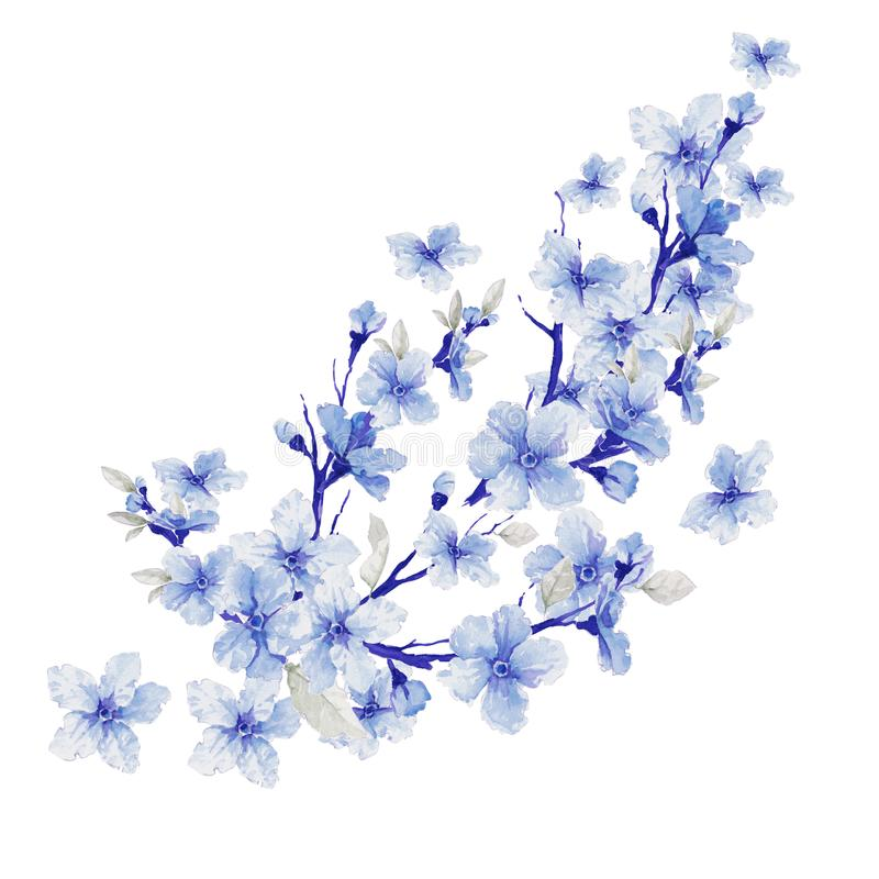 Flores hermosas Ilustración de la acuarela stock de ilustración