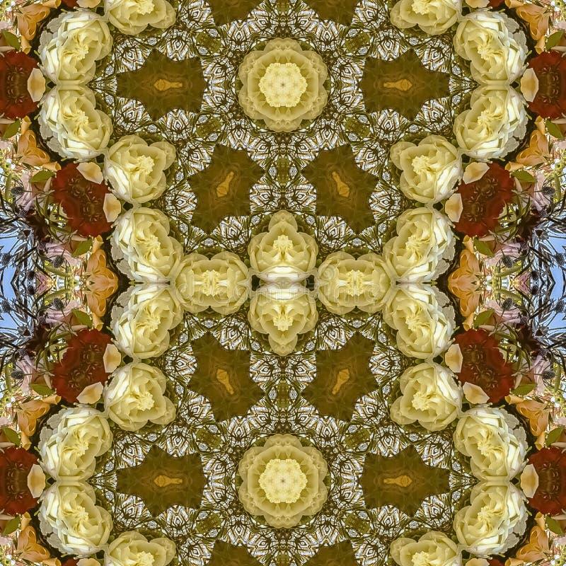 Flores hexagonales dobles del cuadrado en el arreglo circular en la boda en California en fondo azul stock de ilustración