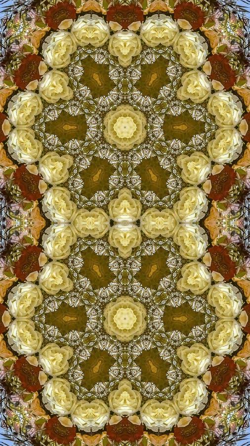 Flores hexagonales dobles del marco vertical en el arreglo circular en la boda en California en fondo azul foto de archivo