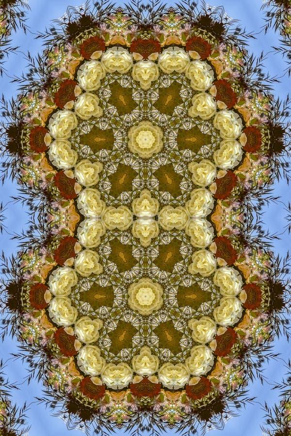 Flores hexagonales dobles en el arreglo circular en la boda en California en fondo azul libre illustration