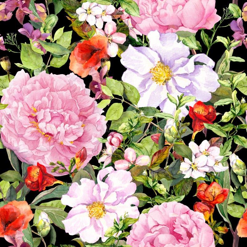 Flores, hojas, hierba de prado en el fondo del negro del contraste Modelo floral inconsútil watercolor ilustración del vector