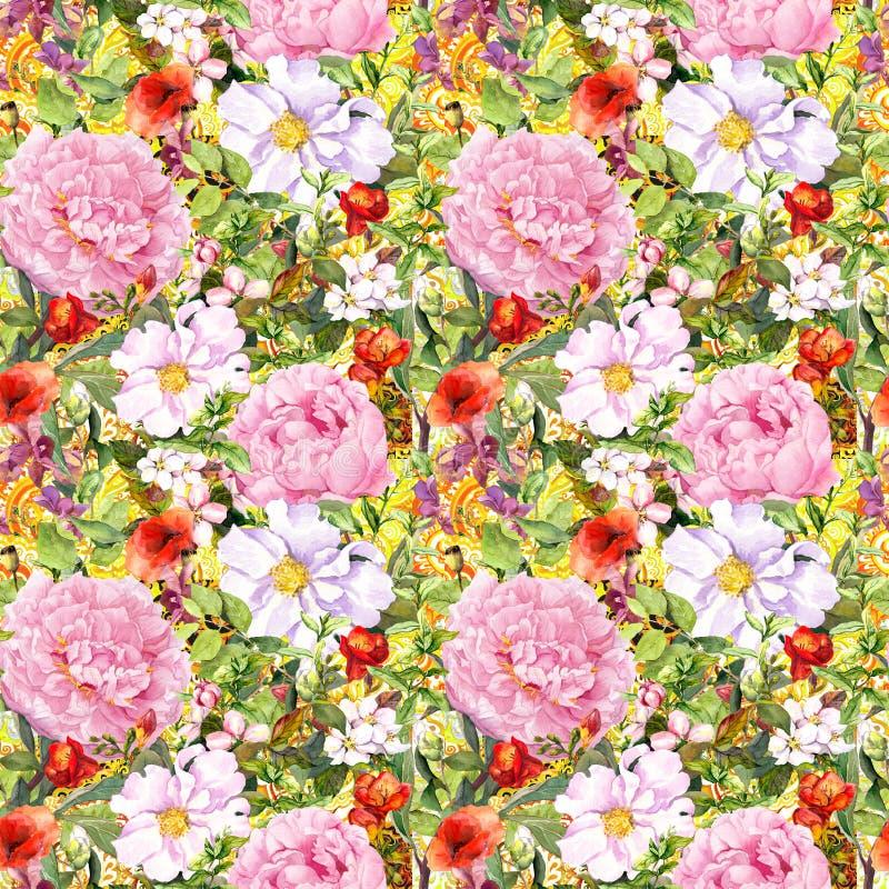 Flores, hojas, hierba Fondo floral inconsútil Acuarela soleada libre illustration