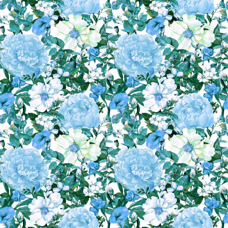 Flores, hojas, hierba salvaje Repetición del estampado de flores en color azul watercolor libre illustration