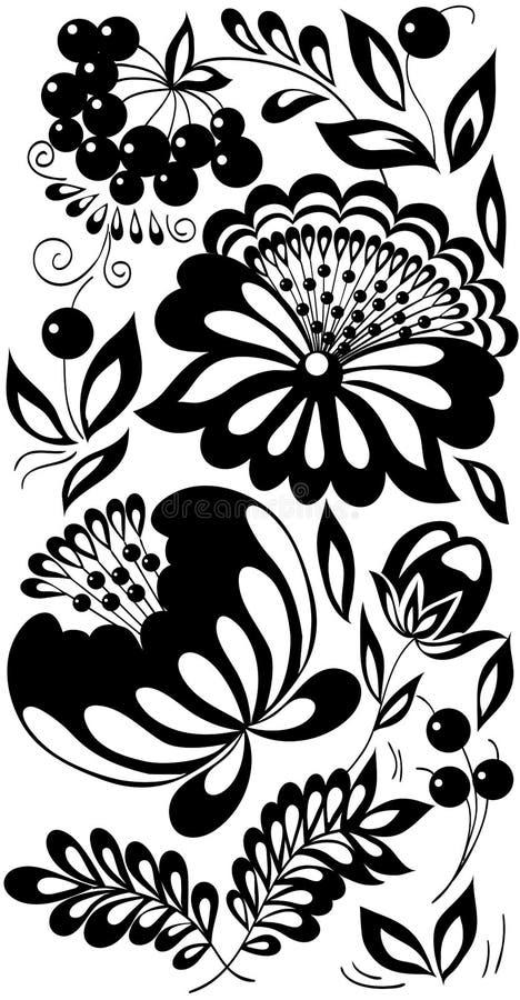 Flores, hojas y bayas blancos y negros. Fondo pintado en el viejo estilo ilustración del vector