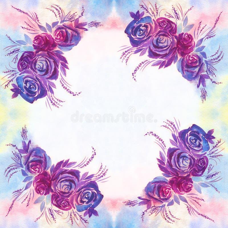 Flores Hojas Y Brotes De Rosas Fondo De La Acuarela Papel Pintado