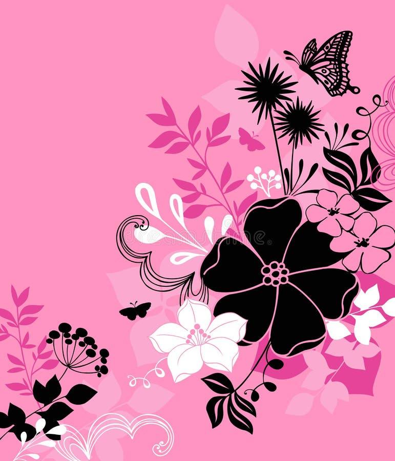 Flores, hojas, y vector de la ilustración de la mariposa ilustración del vector