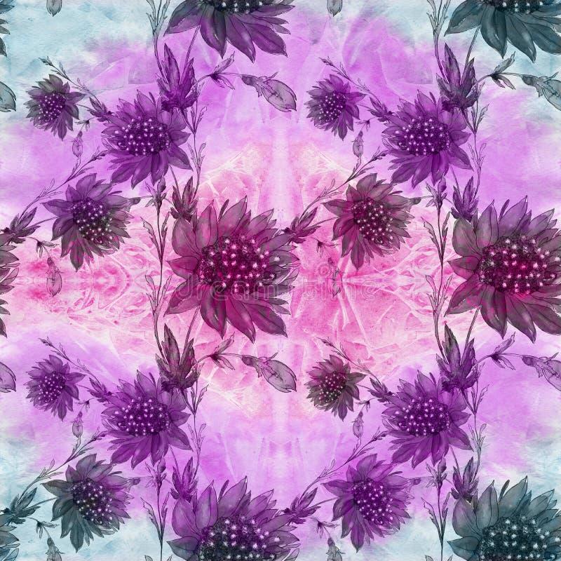 Flores Imagem de fundo abstrata da aquarela - composição decorativa U ilustração royalty free