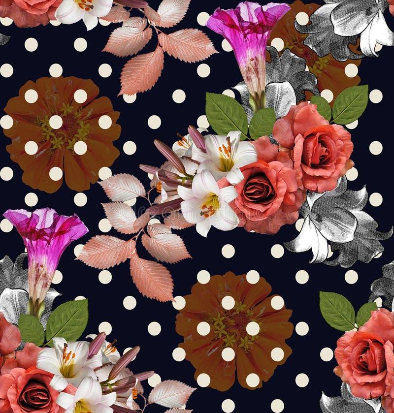 Flores inconsútiles con el lunar; rosas con el lirio y el zinnia en N imagen de archivo libre de regalías