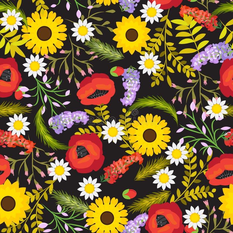 Flores inconsútiles florales del fondo del vector ilustración del vector