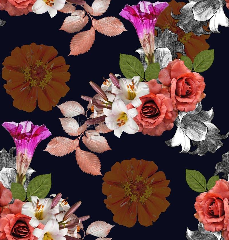 Flores inconsútiles; rosas con el lirio y el zinnia en backgr de los azules marinos foto de archivo