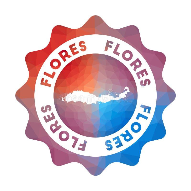 Flores laag polyembleem stock illustratie