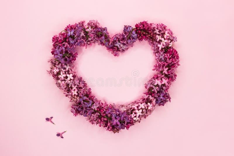 Flores lil?s bonitas na forma do cora??o no fundo cor-de-rosa pastel Vista superior Copie o espa?o fotografia de stock royalty free