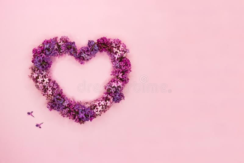 Flores lil?s bonitas na forma do cora??o no fundo cor-de-rosa pastel Vista superior Copie o espa?o fotografia de stock