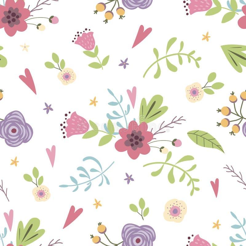 Flores lindas del modelo del prado del verano de la mano de la primavera del fondo en colores pastel exhausto inconsútil floral d ilustración del vector