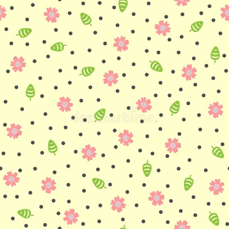 Flores Lindas, Hojas Y Puntos Redondos Modelo Inconsútil Floral ...