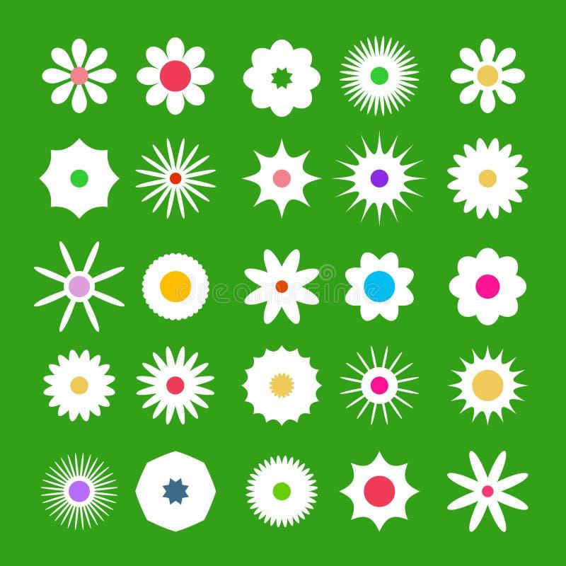 Flores lisas do projeto do vetor dos ícones de Flover da mola ajustadas no fundo verde ilustração do vetor