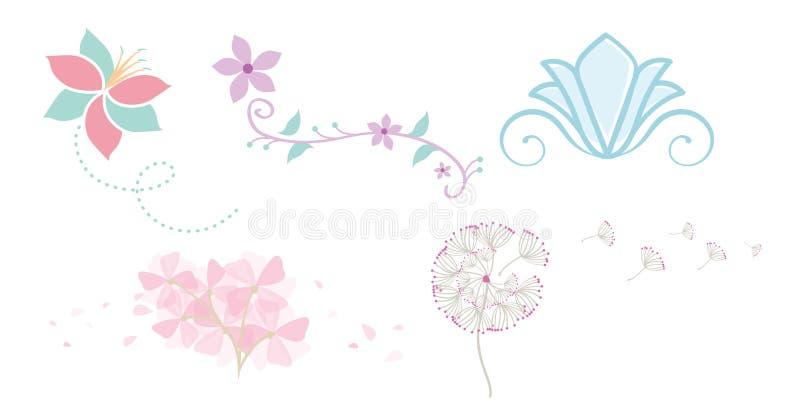 Flores lunáticas com pétalas de sopro ilustração stock