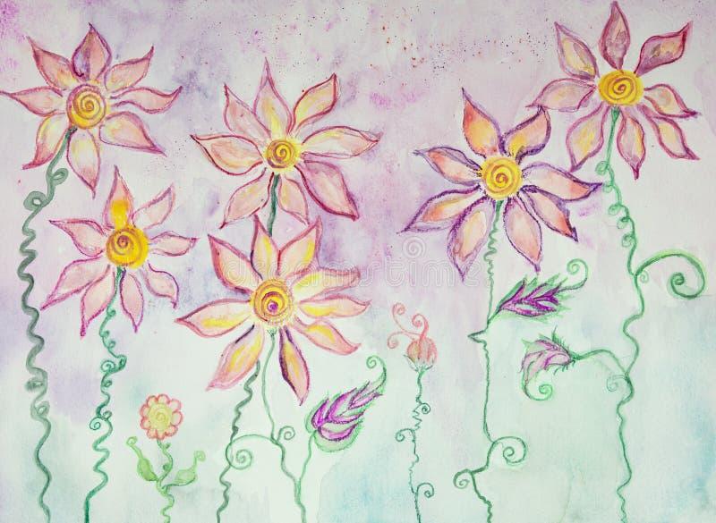Flores lunáticas da hippie com hastes encaracolados ilustração stock